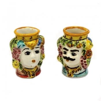Coppia teste ceramica mini cm.6,5