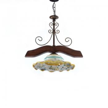 Lampadario in ceramica e legno 1 luce – Vari decoriLampadario in ceranica e legno 1 luce – Vari decori