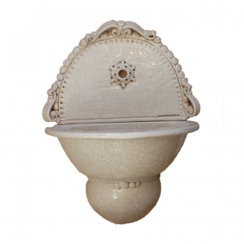Fontana Murale Ceramica Caltagirone Bianco Antico