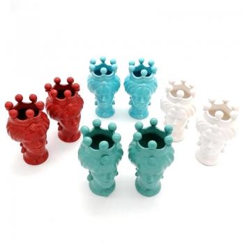 Coppie Teste Ceramica Caltagirone cm 15-Vari Colori