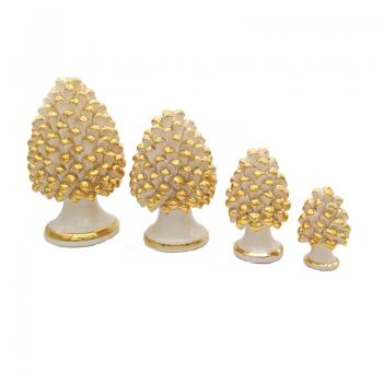 Sicilian Ceramic White and Gold Pine Cone