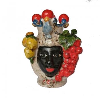 Teste ceramica Caltagirone Donna  Uva cm 20