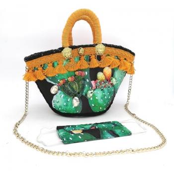 Black Sicilian Bag Figs 32 cm
