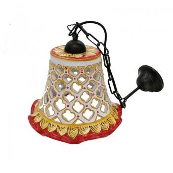Red ornate ceramic chandelier