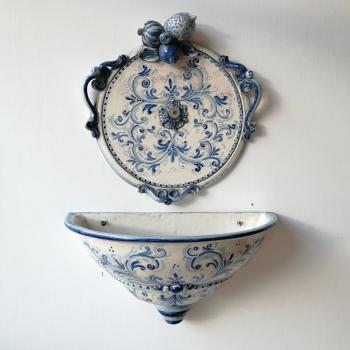 Ancient Blue Fruit Ceramics Caltagirone Mural Fountain