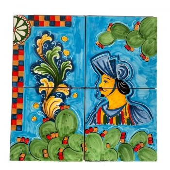 Caltagirone Sicilian Ceramic Light Blue Panel 40 x 40