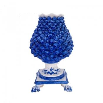 Sicilian Caltagirone Blue Pine Cone Flower Stand 40 cm
