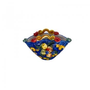 Borsa in ceramica Frutta manici Blu cm 15