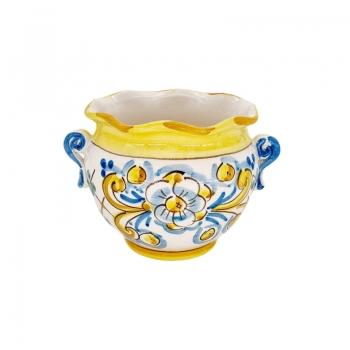 copy of Sicilian Ceramic Yellow Flower Pot Stand cm 15