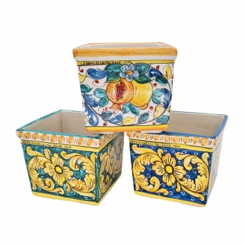 Ornate Caltagirone Ceramic Vase Holder cm 20 x 20