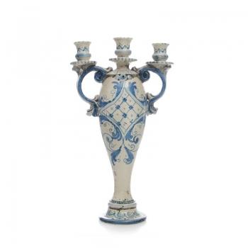 Candelabro ceramica 3 luci Bl