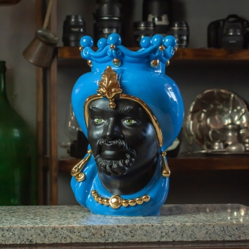 Testa Ceramica Siciliana Uomo Blu Luxury Gold cm 35