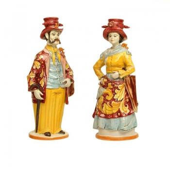 Coppia Lumiere in ceramica di Caltagirone