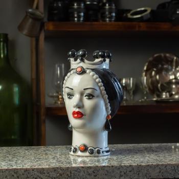 Testa di Moro Ceramica Siciliana Caltagirone  Finitura Nera Donna cm 23