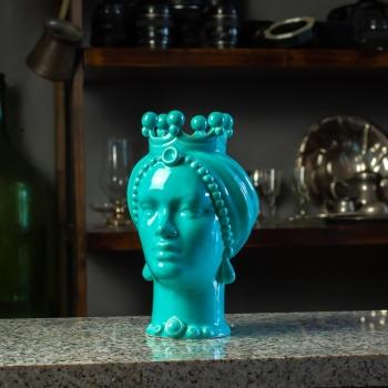 Testa Ceramica Siciliana Caltagirone  Turchese Donna cm 23