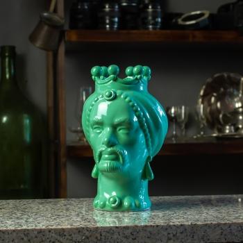 Testa Ceramica Siciliana Caltagirone  Verde Tiffany Uomo cm 23