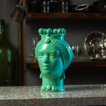 Testa Ceramica Siciliana Caltagirone  Verde Tiffany Donna cm 23