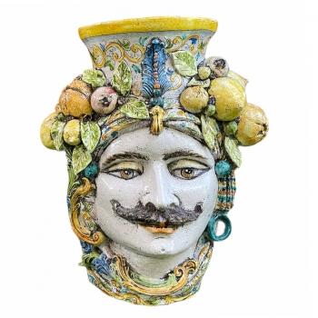 Testa di Moro Uomo Gigante in Ceramica Siciliana Caltagirone cm 85