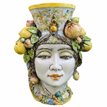 Testa di Moro Donna Gigante in Ceramica Siciliana Caltagirone cm 85