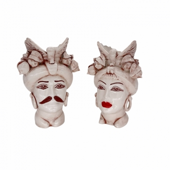 Coppia Teste Ceramica Sicliana Caltagirone Bianco Antico cm 23