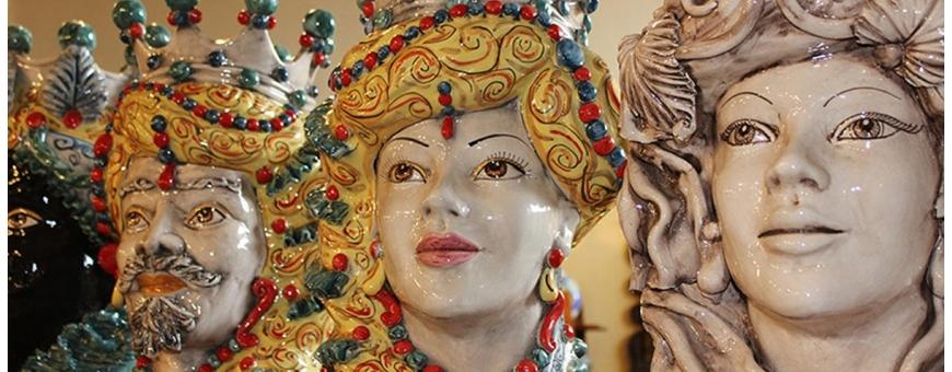Vendita Teste di Moro in ceramica di caltagirone - Teste Verus da collezione